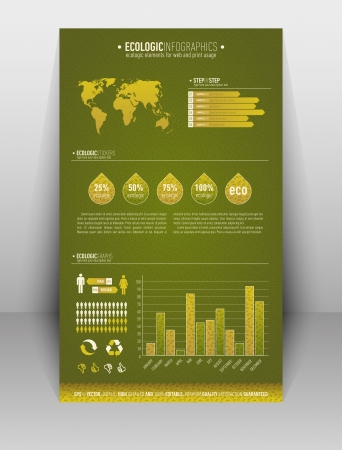 Green based ecologic infographic element for the web and print usage Illustration