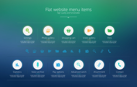 Flat web design menu template