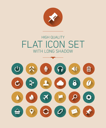 Flat icon set with long shadow Illustration