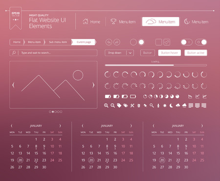 Flat website UI elements