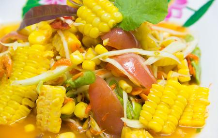 Corn and papaya slad.