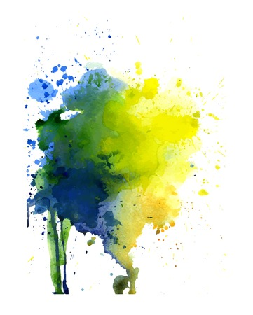 Spot yellow, blue and green watercolor art hand paint isolated on white background. Watercolor stains.watercolour banner Ilustração