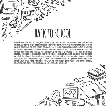 school class: Banner back to school tools sketch icons design illustration.Background School.
