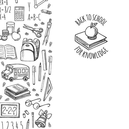 isolation: School tools sketch icons on a plaid background isolation vector vertical banner. Background School.