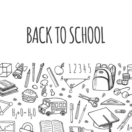 isolation: School tools sketch icons on white background isolation vector horizontal banner. Background School.