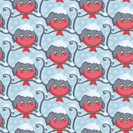 titmouse: Bird red vector seamless pattern. Winter background.