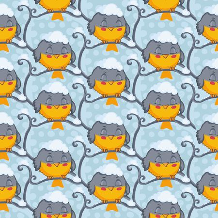 tomtit: Bird tomtit vector seamless pattern. Winter background.
