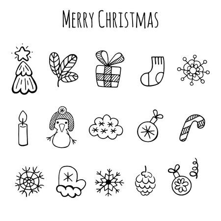 isolation: Christmas sketch icons isolation set vector design. Christmas background.