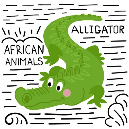 Alligator with lettering on a white background isolated. African animals background Ilustração