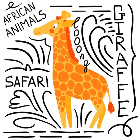 camelopard: Orange giraffe with lettering on a white background isolated. African animals background