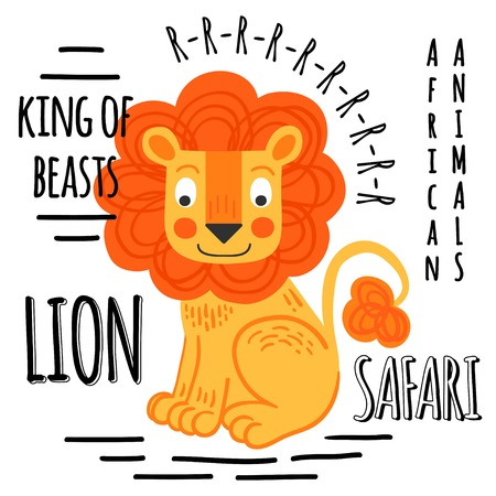 cartoon lion: Lion red with lettering on a white background isolated. African animals background Illustration