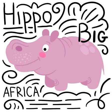 behemoth: Hippo pink with lettering on a white background isolated. African animals background