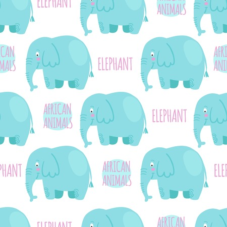 zoological: Elephan with lettering on a white background isolated. African animals vector seamless pattern