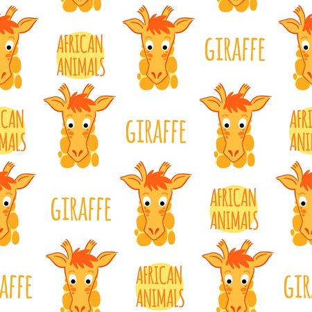 Giraffe orange with lettering on a white background isolated. African animals vector seamless pattern