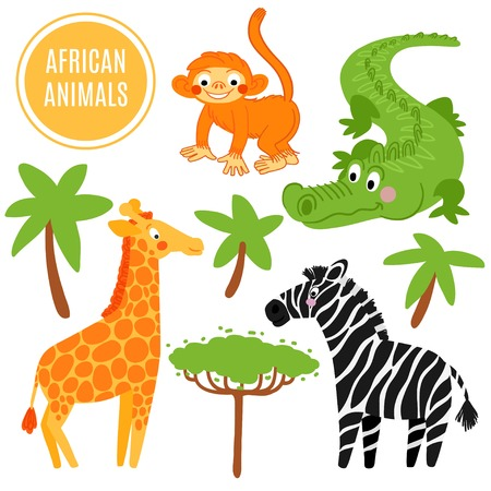 camelopard: African animals set isolated on white background: alligator, giraffe, monkey, zebra. African animals background.