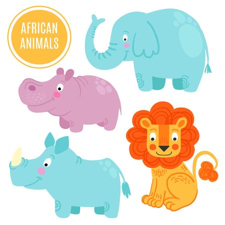 behemoth: African animals set isolated on white background: elephan, rhino, lion, hippo. African animals background