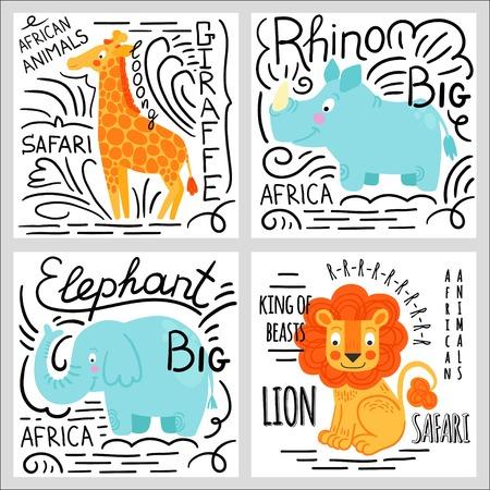 jirafa cartoon: animales africanos conjunto aislado sobre fondo blanco: elefantes, leones, rinocerontes, jirafas. fondo de los animales de África.