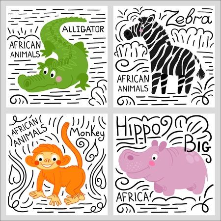 camelopard: African animals set isolated on white background: alligator, hippo, monkey, zebra. African animals background. Illustration