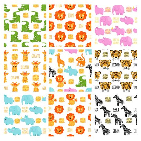 zoo: African animals vector seamless pattern. African animals background