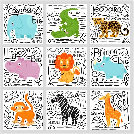 African animals set isolated on white background: elephant,  lion, rhino, giraffe,alligator, hippo, monkey, zebra,buffalo, hippo, leopard.  African animals background.