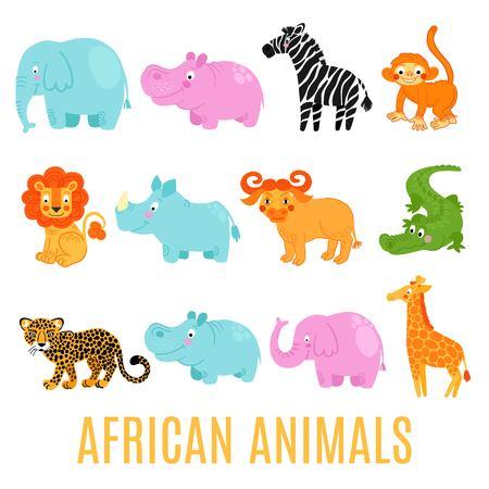 camelopard: African animals set isolated on white background: elephant,  lion, rhino, giraffe,alligator, hippo, monkey, zebra,buffalo, hippo, leopard.  African animals background.