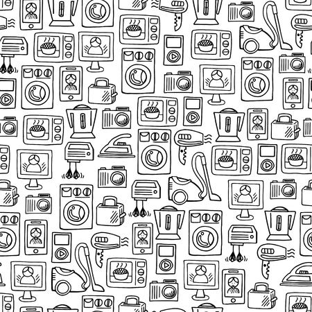 electronic music: Home electronics sketch icons isolation white background vector horizontal banner. Electronics vector illustration background Illustration