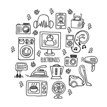 electronica musica: Iconos de artículos de consumo electrónico boceto aparatos círculo concepto plantilla de la infografía. Electrónica ilustración vectorial Vectores