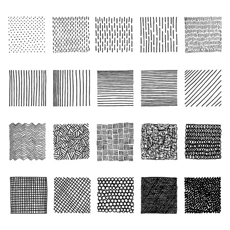 Set of ink hand drawn vector design elements. Lines with different density and incline. Abstract background.