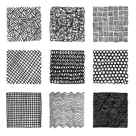 density: Set of ink hand drawn vector design elements. Lines with different density and incline. Abstract background. Illustration