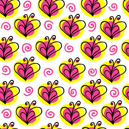 to flit: butterfly heart vector seamless pattern. Love background