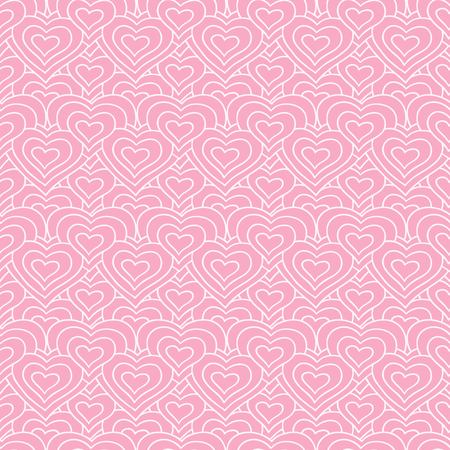 Pink chain of hearts vector seamless pattern. Love background