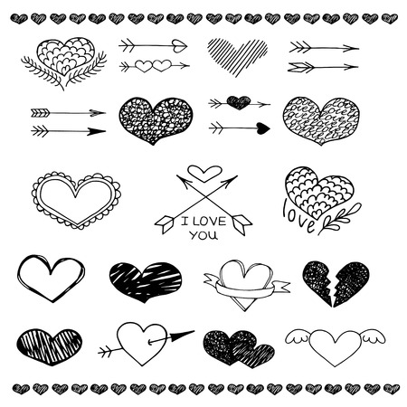 Love heart and arrow vector sketch set. Love background