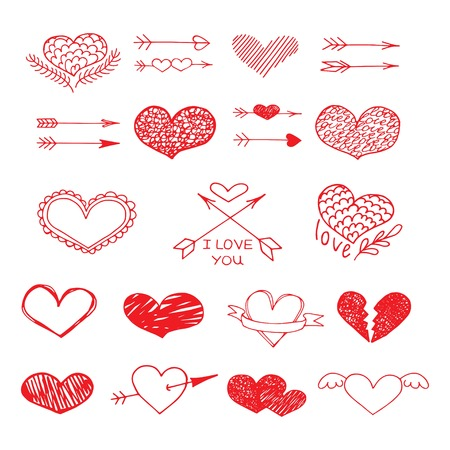 bundle of letters: Love red heart and arrow vector sketch set. Love background