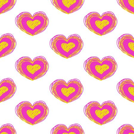 bright heart vector seamless pattern. Love background