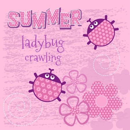 creep: Pink card creeping ladybug that says summer vector illustration, T-shirt girl design. Illustration