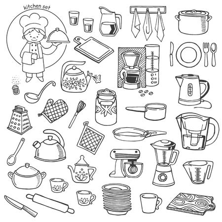 dishes set: Kitchen utensils and appliances white and black vector icons set Illustration