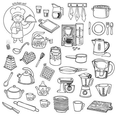 kitchen utensils: Utensilios de cocina y electrodom�sticos vector blanco y negro iconos conjunto