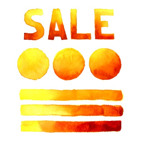 dabs: Speak bubbles, banner and  inscription sale red, yellow and orange watercolor set vector