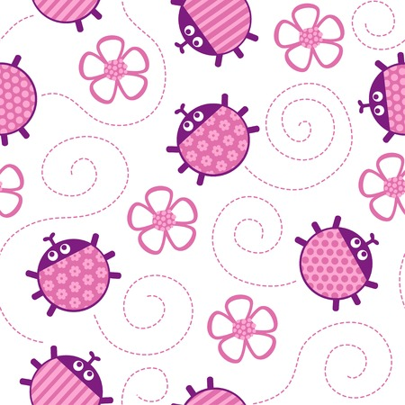 creep: Crawling ladybugs and flowers pink seamless vector pattern.
