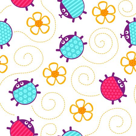 crawling: Crawling yellow ladybugs and flowers seamless vector pattern.