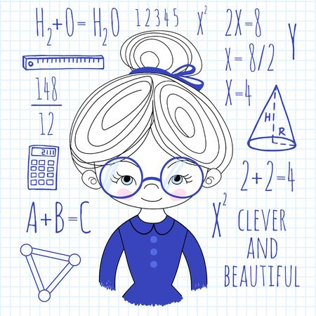 spectacled: Schoolgirl spectacled blue color on a plaid background vector illustration. Background School.