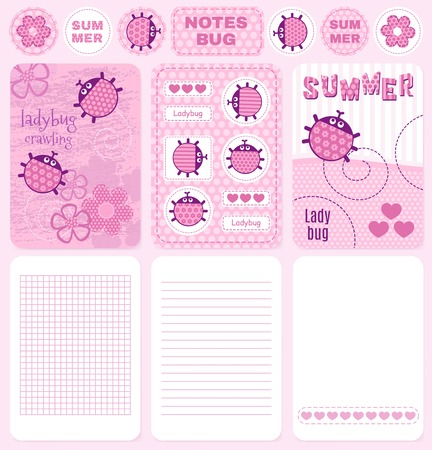 school notebook: Cards and notes creeping ladybug pink vector set. note Illustration