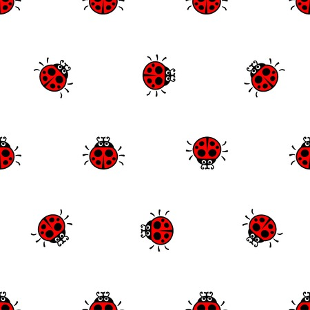 crawling: crawling ladybirds red on a white  background seamless vector pattern