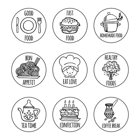 signatures: Kitchen tools with signatures sketch icons on a white background isolation vector set. Background Kitchen.