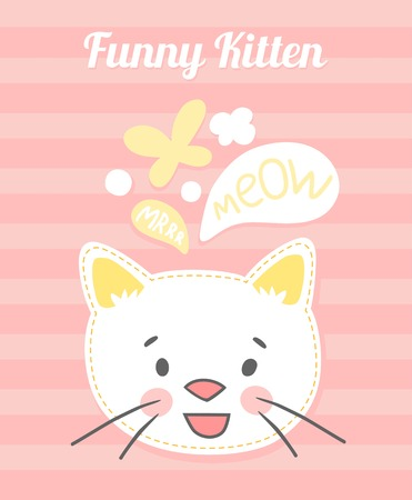 meow: Cute white kitten on a pink striped background face vector cards.
