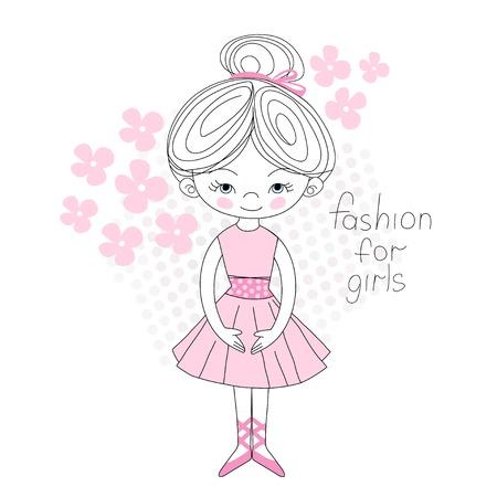 gently: Ballerina gently pink color flowered vector illustration, T-shirt girl design