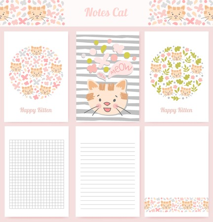organizer: Template for scrapbooking, wrapping, notebooks. Vector note kitten