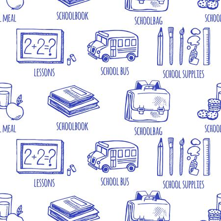 School tools sketch icons seamless vector pattern. Background School. Illustration