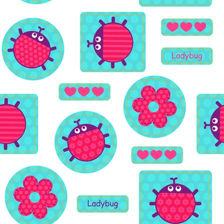 white patches: Turquoise patches with pink ladybirds and hearts on a white  background seamless vector pattern