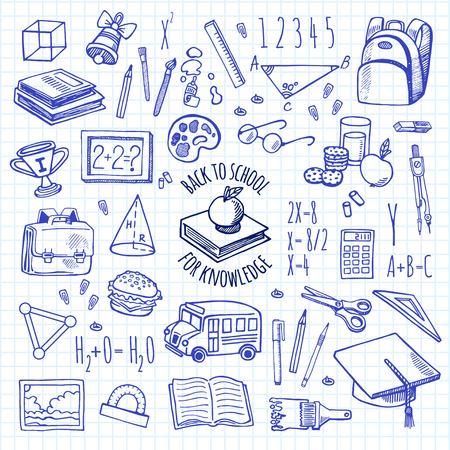 articulos de oficina: Herramientas de la escuela dibujan iconos en un fondo a cuadros conjunto de vectores de aislamiento. Fondo de la escuela. Vectores